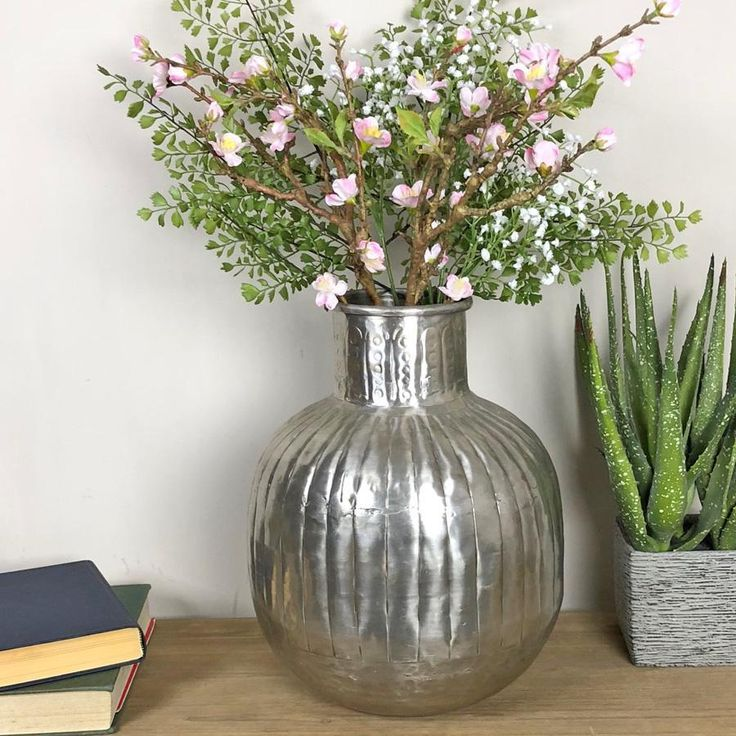 Hammered Finish Antiqued Metal Vase from The Farthing