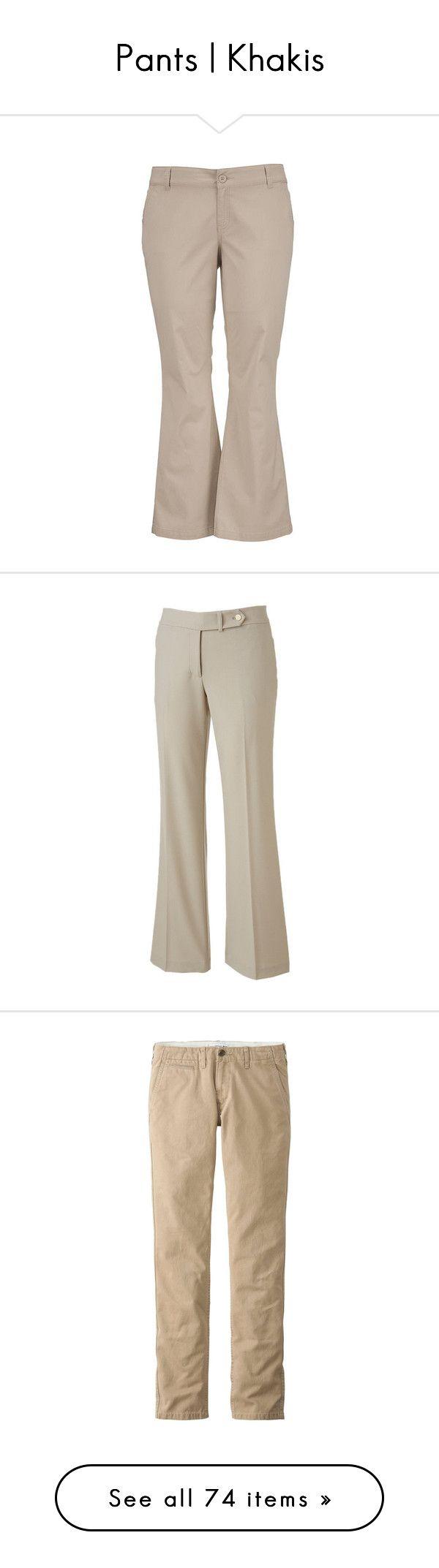 """Pants | Khakis"" by christinagleason ❤ liked on Polyvore featuring pants, womens plus size khaki pants, khaki pants, plus size trousers, wide pants, brown chino pants, khaki, zipper pocket pants, zip pocket pants and straight leg trousers"