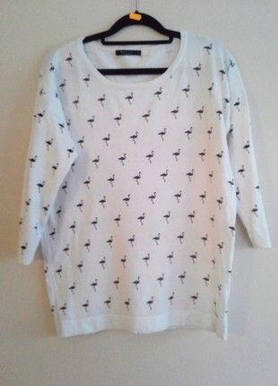 Kup mój przedmiot na #vintedpl http://www.vinted.pl/damska-odziez/swetry-z-dzianiny/11623017-bialy-mieciutki-sweterek-mohito-flamingi