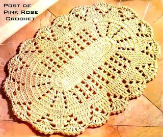 \ PINK ROSE CROCHET /: Tapete Oval - Crochê com Barbante