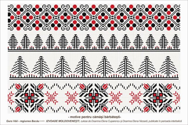 Semne Cusute: romanian traditional motifs - MOLDOVA, Bacau, sat: Gura Vaii