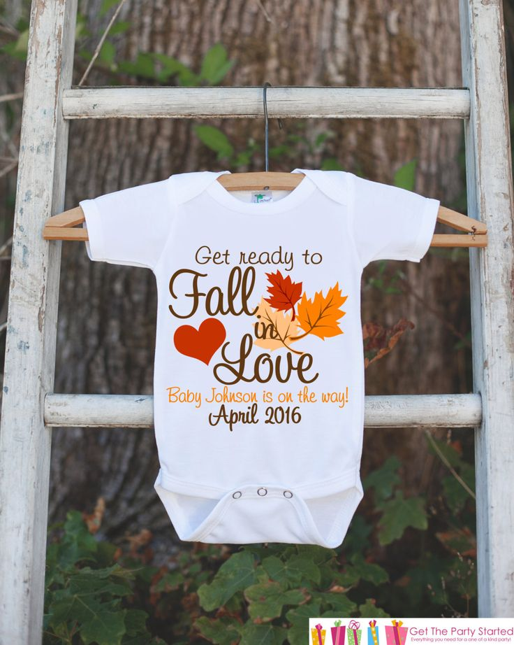 Pregnancy Announcement Onepiece - Baby Is On The Way - Pregnancy Reveal Idea - Personalized with Name and Date - Get Ready To Fall In Love by getthepartystarted on Etsy https://www.etsy.com/listing/248373940/pregnancy-announcement-onepiece-baby-is