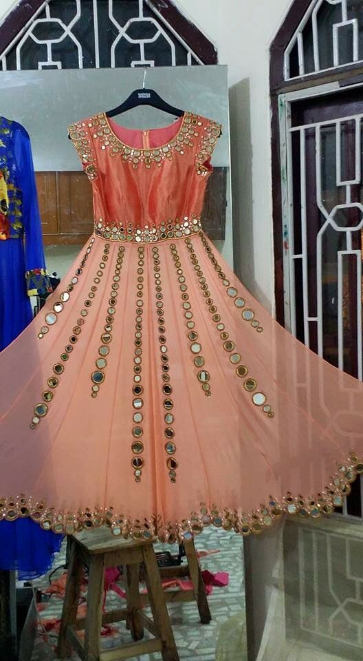 Mirror work anarkali