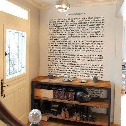 Book page on the wall <3...now, which book to choose!!! :)