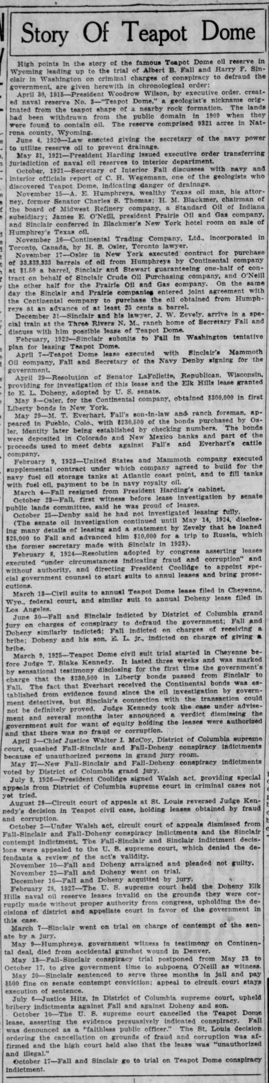 Time line of Teapot Dome scandal prior to Oct. 1927