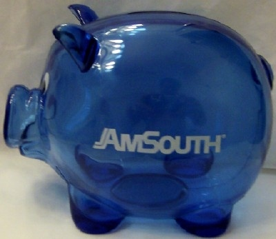 AmSouth Collectible Blue Piggy Bank New