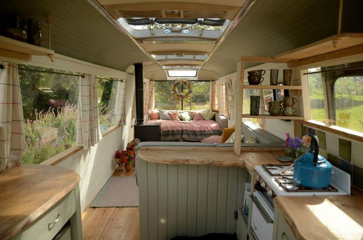 An off-grid bus converted into guest quarters in Hay-on-Wye, Wales.