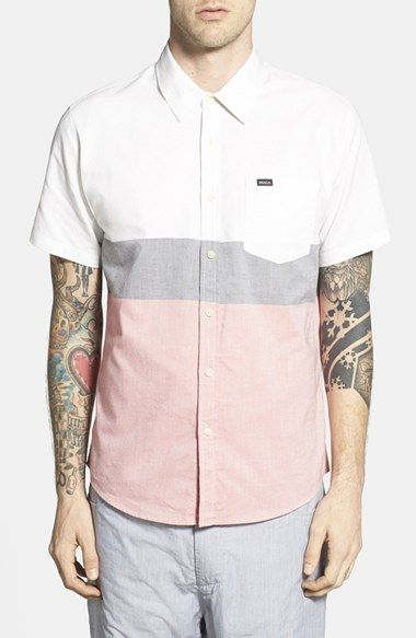 RVCA+'That'll+Do'+Short+Sleeve+Colorblock+Oxford+Woven+Shirt+available+at+#Nordstrom