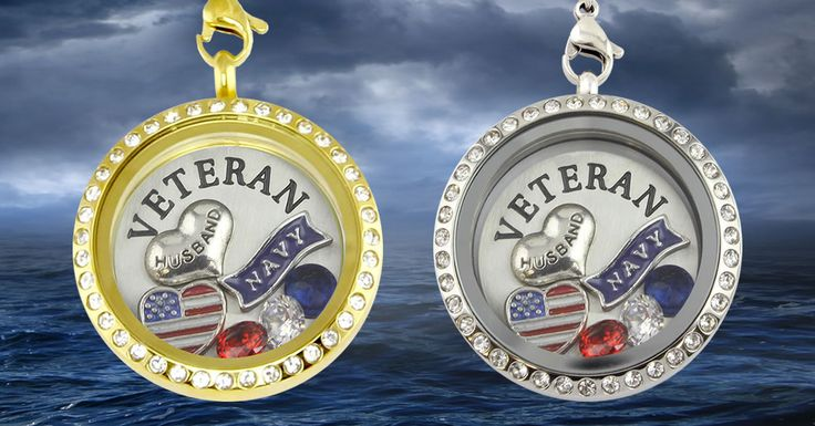 <3 Cute Floating Charm Necklace for any proud wife of a Navy Veteran. Share is you are a proud Navy wife!