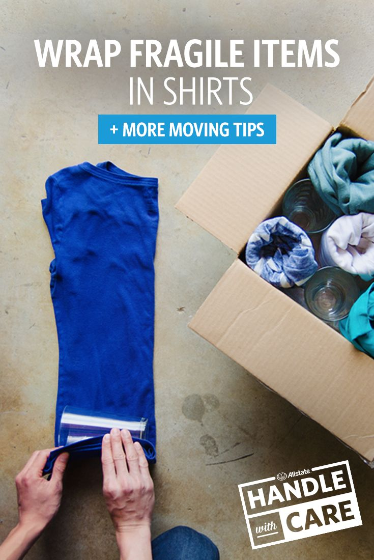 If you're moving, here's an easy and green way to pack up your breakables: wrap them in shirts. You'll save money and resources by not buying bubble wrap. Our Moving Center has plenty more packing tips and tricks.