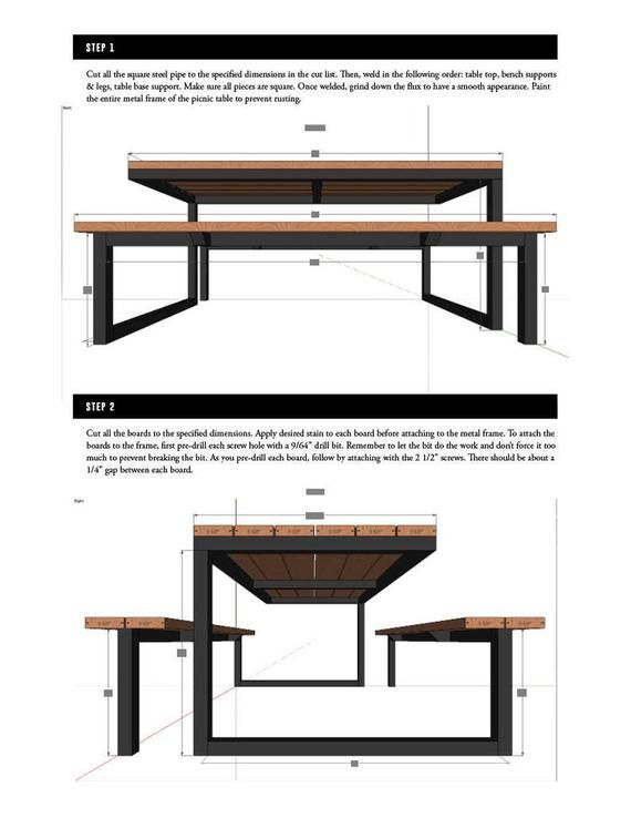 Diy Modern Industrial Picnic Table Plans 6ft Steel And Wood Etsy In 2020 Modern Woodworking Plans Diy Picnic Table Wood Table Diy