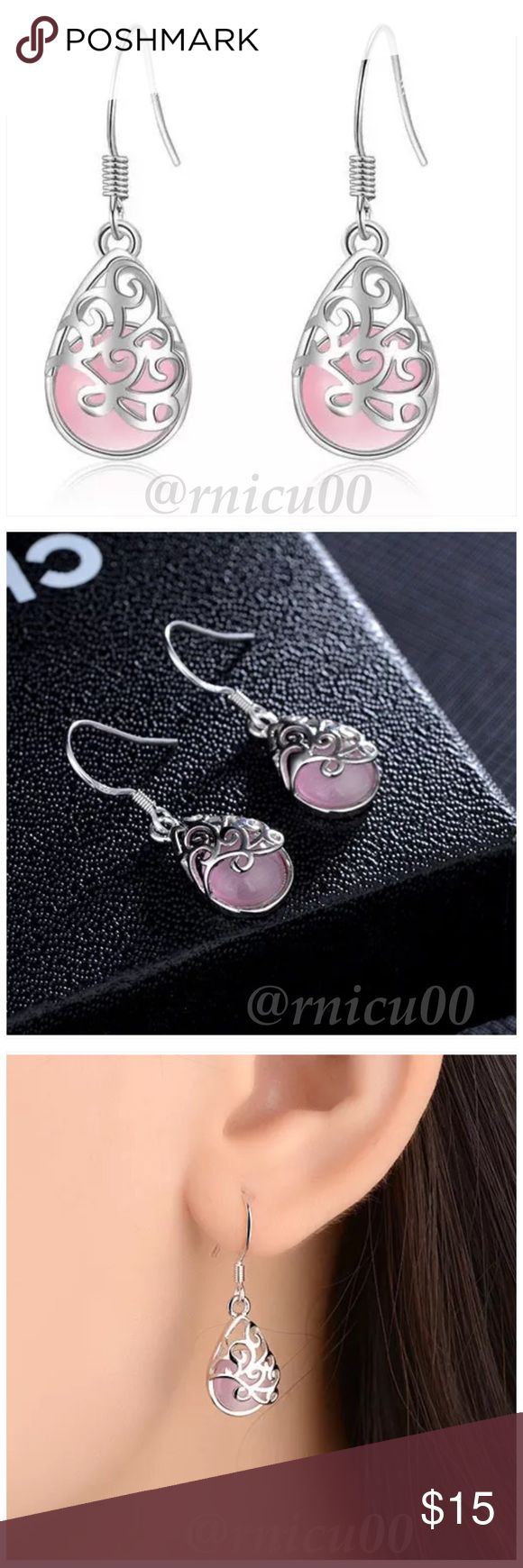 🆕Pink Opal 925 Sterling Silver Drop Earrings! Simple yet Classy Pink Opal Stone & Sterling Silver Drop Earrings. Wear with Everything; Beautiful Details; Not heavy  🌺I am Very Excited to Introduce to You my New Minimalist Line! All are Superior Quality, every piece is 925 Sterling, Meant to Mix & Match to Build your Own Style!🌺 *925 Sterling Silver & Stamped; Wire Hook back for pierced ears *Pink Opal Stone  *NO TRADES *Prices are FIRM-Listed at Lowest Price Unless BUNDLED! *Sales are…