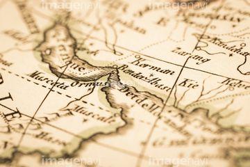 アンティークの世界地図 ペルシャ湾とホルムズ海峡の写真