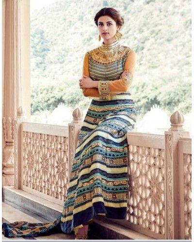 Printed Tapeta Silk Anarkali
