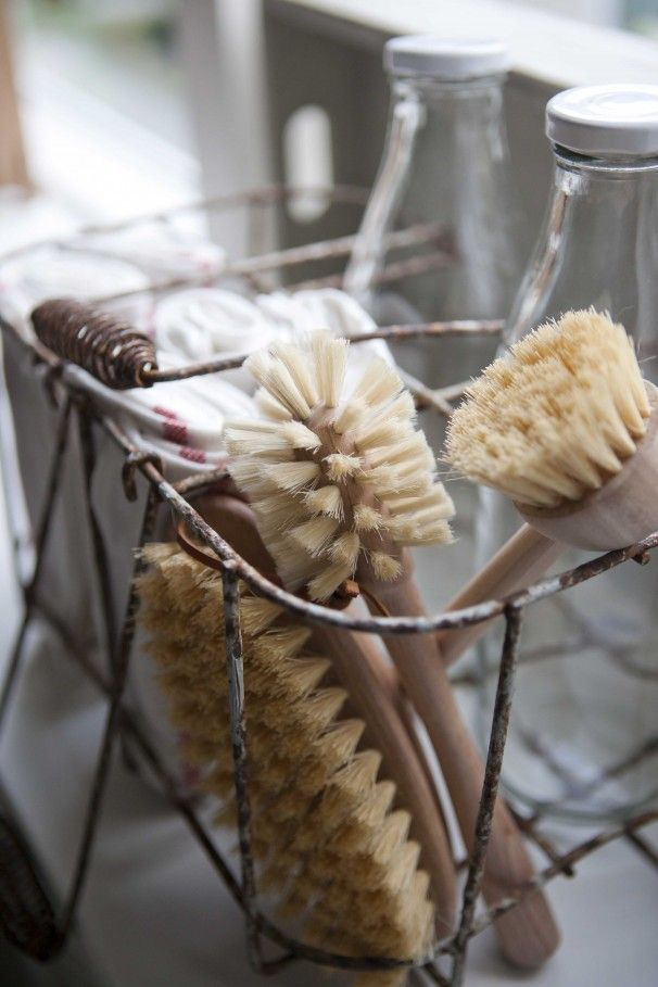 //wooden scrub brushes and wire baskets...
