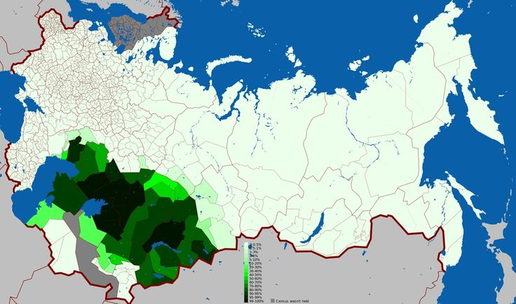 Geographic distribution of Kazakh language in the Russian Empire according to 1897 census