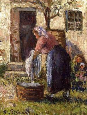 Camille Pissarro (Caribbean-born French Impressionist Pointillist Painter, c 1830-1903) The Laundry Woman 1898