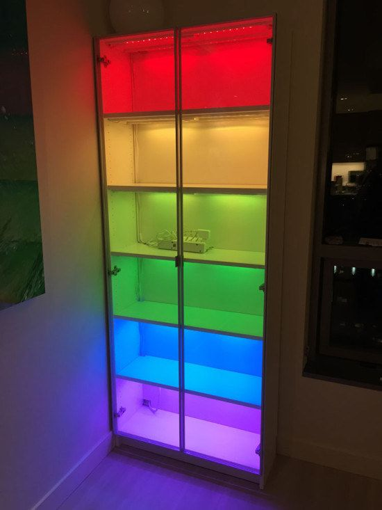 Create a Billy bookcase that glows using some Dioder lights. | 27 Incredibly Fun And Creative Ways To Transform Ikea Products