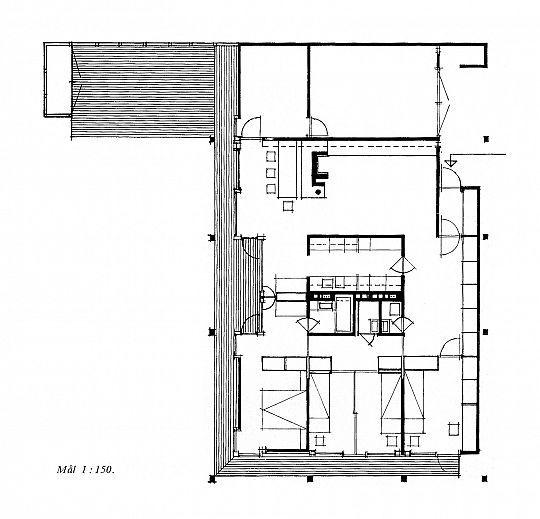 Villa Schreiner, 1963. Ground floor plan, scale 1:150. From _Byggekunst_ no. 8, 1964.