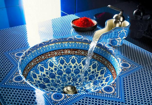 moroccan design, bathroom sink and faucet moroccan style