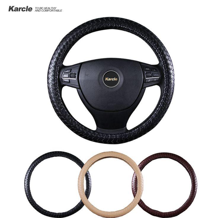 Karcle PU Cubierta del Volante de Cuero Cubierta Del Volante Auto Universal Car-styling 38 CM-40 CM Sostenedor antideslizante Protector