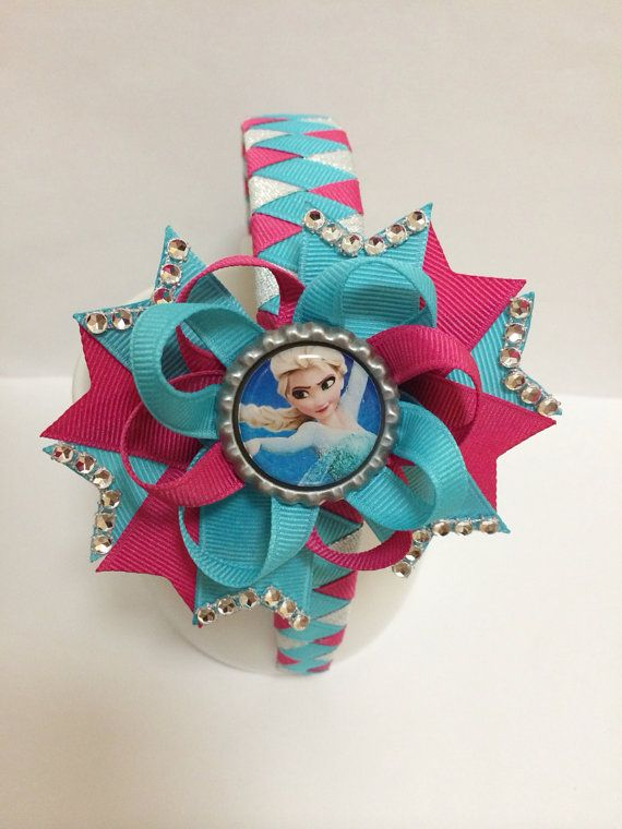 Frozen Hair Bow Frozen Headband by TheJMarieBoutique on Etsy, $11.99