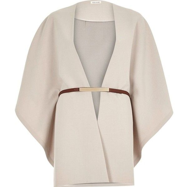 River Island Beige belted cape ($110) ❤ liked on Polyvore featuring outerwear, accessories, waist belt, belted cape coat, poncho cape coat, cape coat and cape poncho