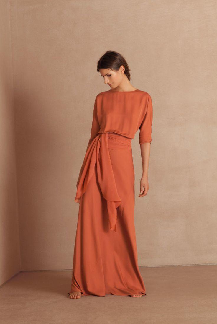 Mola, long silk dress in salmon Bridesmaid Dresses, Wedding Dresses, Silk Crepe, Bridal Boutique, The Dress, Evening Dresses, Ready To Wear, Party Dress, Fashion Dresses