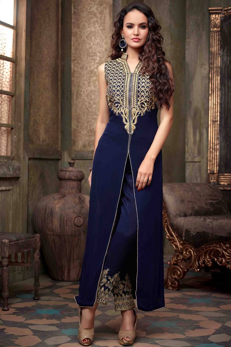 Navy Georgette Semi Stitch Dress with Chiffon Dupatta