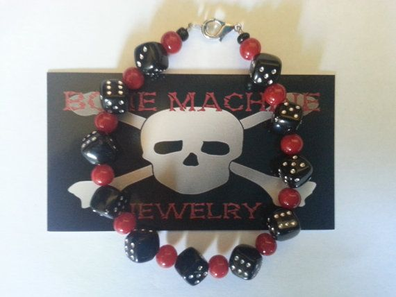 Red Howlite and Black Dice Bracelet. by BoneMachineJewelry on Etsy, $12.50