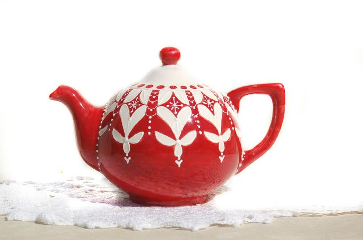 Christmas Red Teapot for Holidays Tea Lover by Dprintsclayful