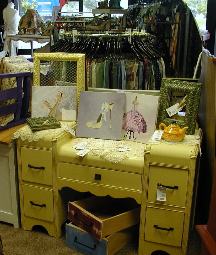 Yellow Art Deco Vanity W/Mirror. Retro Dressing TableDressing ...