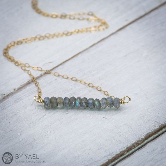 Labradorite jewelry, labradorite necklace, bar #jewelry #necklace @EtsyMktgTool http://etsy.me/2gFcyx8 #simplenecklace #daintynecklace