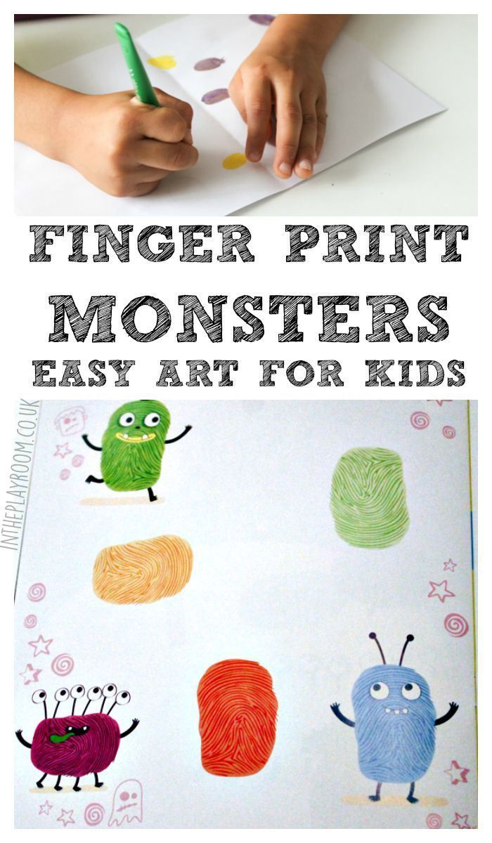 Finger print monsters. Easy art activity for kids, using painted thumb or finger prints as a base for monster doodles