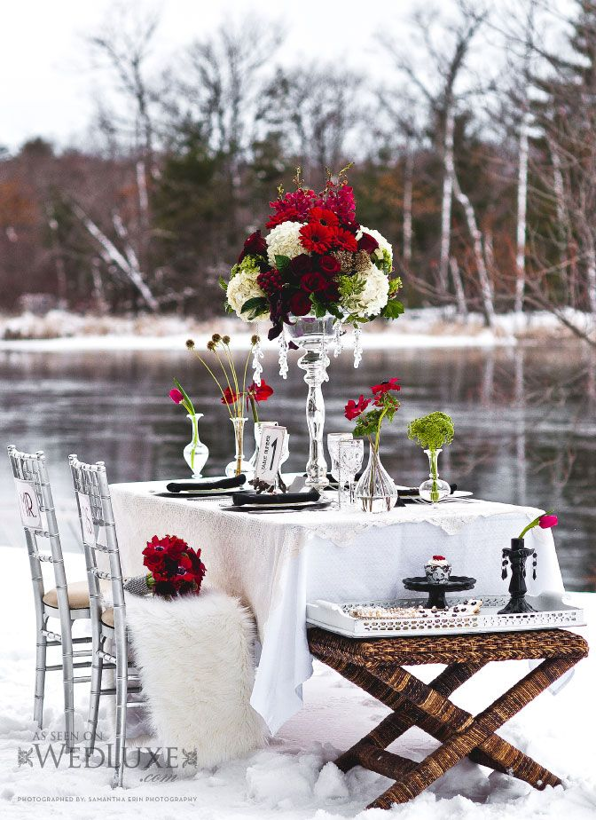 #weddingreceptionWedding Receptions, Receptions Locations, Company Picnics, Winter Wonderland, Romantic Dinner Tables, Dinner Tables Sets, Winter Weddings, Tables Decor, Romantic Tables