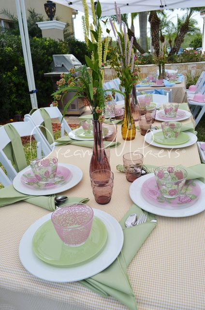 Such a pretty table at an Easter party!   See more party ideas at CatchMyParty.com!  #partyideas #easter