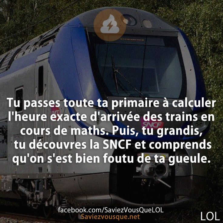 Tu passes toute ta primaire à calculer l'heure exacte d'arrivée des trains en cours de maths. Puis, tu grandis, tu découvres la SNCF et comprends qu'on s'est bien foutu de ta gueule.   Saviez-vous que ?