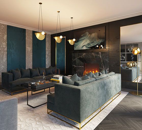 Get the London Cool look, with Tamaryn White Studio's furnishing package #pinoftheday #interiordesign #luxury #livingroom #sofa #lighting #art #rugs