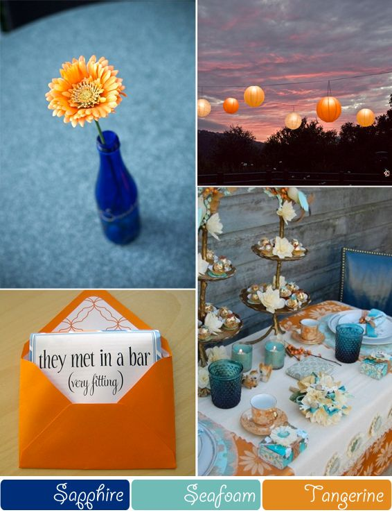 tangerine sappire and seafoam wedding colour inspiration. Great colors for a summer wedding