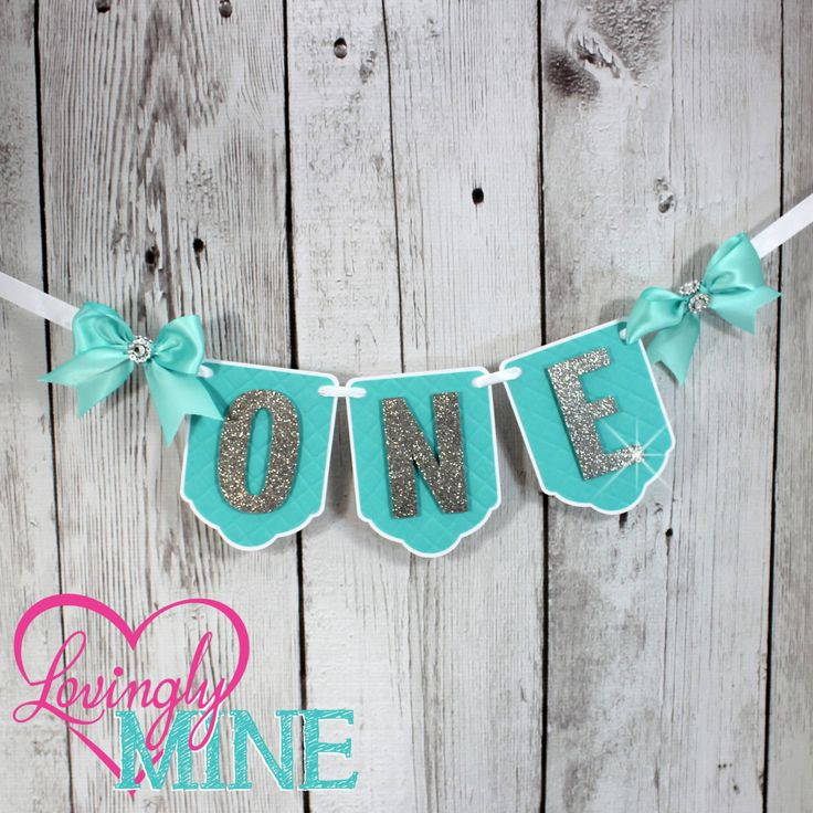 Highchair Banner First Birthday in Light Teal, Aqua, White and Glitter Silver - First Birthday Party Decor - 3D Tuft Look and Feel by LovinglyMine on Etsy - Tiffany Blue, Tiffany and Company, Breakfast at Tiffany's