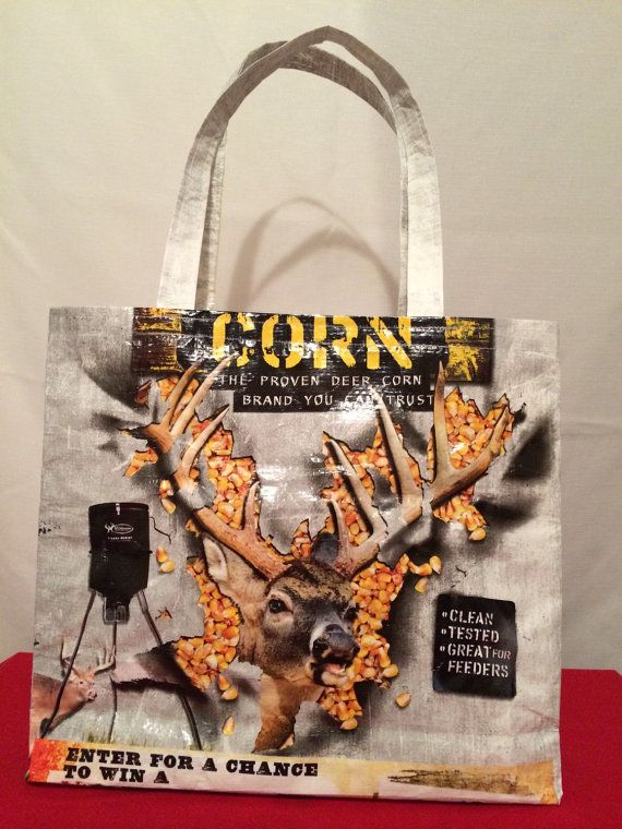 Recycled Repurposed Deer Corn Feed Bag Tote by EarthenVesselCrafts