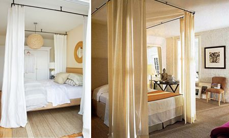 DIY Faux Canopy Bed from drapery hardware and curtains - an option for visually separating a bed from the rest of the space.