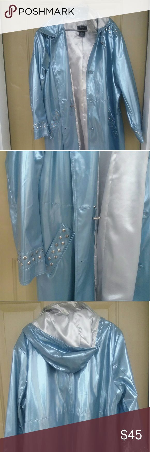 Dennis Basso Rain coat plus size Very pretty  Metallic Blue  hooded Raincoat  plus size 3x       worn 4 times  The coat is in  Excellent condition and  will keep you dry and comfortable  Detachable hood Dennis Basso  Jackets & Coats Trench Coats
