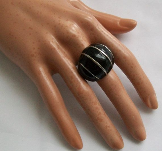 Retro 70s ring  Large black ring  silver striped by NewtoUVintage