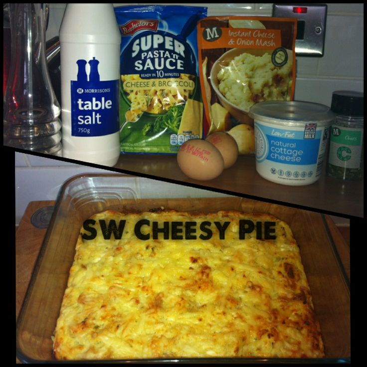 Slimming World Cheesy pie.Bachelors cheese & broccoli pasta & sauce-Cheese & onion instant mash-2 eggs-1 tub of low fat cottage cheese-salt, pepper, herbs-top with cheese (either from Hex A or syned)-can also add any veggies, ham etc that you fancy!  Mix pasta & sauce and mash in a bowl, add cold water until it resembles mash, add cottage cheese, salt, pepper etc, whisk eggs and add to mix. Put in an oven dish, top with cheese and bake for 25-30 minutes at 200C