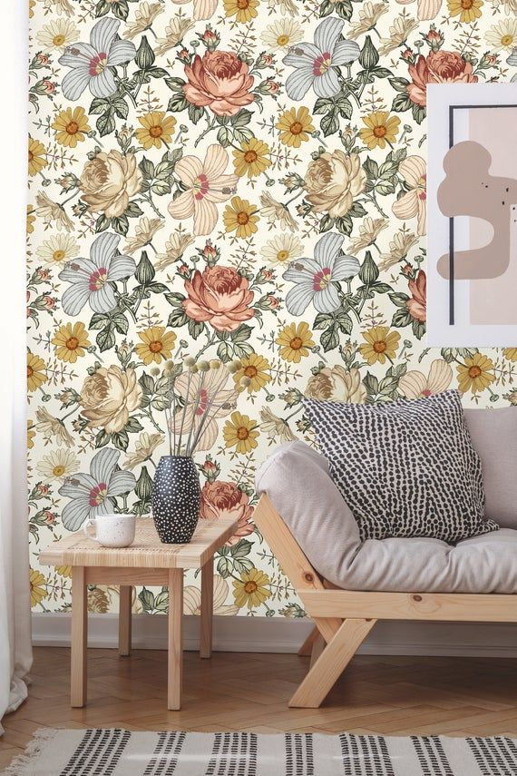 Removable Wallpaper Peel And Stick Floral Wallpaper Self Etsy Removable Wallpaper Floral Wallpaper Rose Wallpaper