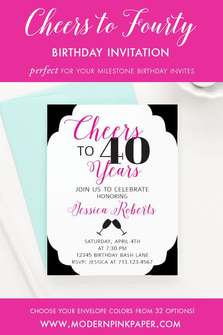 638 best Modern Pink Paper images – Personalized 40th Birthday Invitations