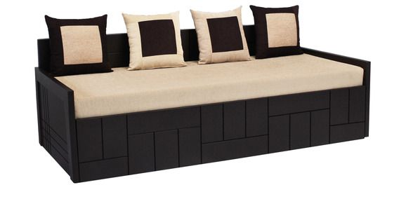 Nelson Sofa cum Bed with Four Pillows in Cream Colour by Auspicious