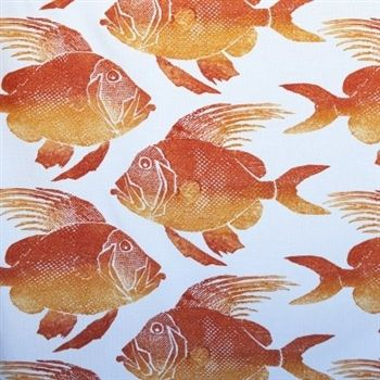 Orange fish delight in this unique futon cover. Washable fabric perfect for family beach homes.
