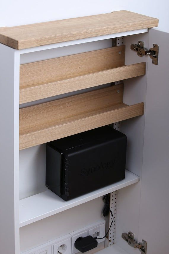 Shelf For Nas Drive For Telephone Furniture Tiny Sideboard 3 Etsy Telefonschrank Router Verstecken Kabel Verstecken